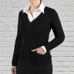 Ladies Black Wool Cardigan with Pockets