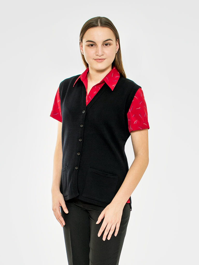 Ladies Black Wool Vest with Pockets