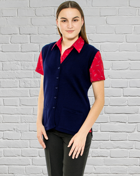 Ladies Navy Wool Vest with Pockets