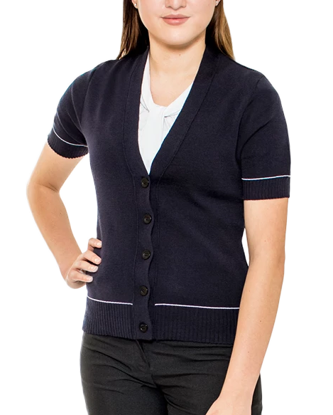 Ladies Navy Merino Cardigan
