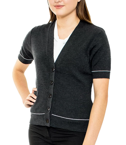 Charcoal Ladies Merino Cardigan