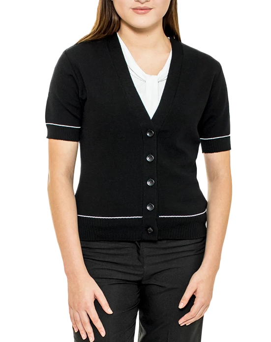 Ladies Black Merino Cardigan