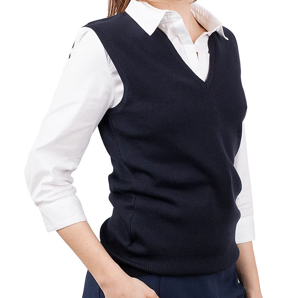 Ladies Navy Merino Vest