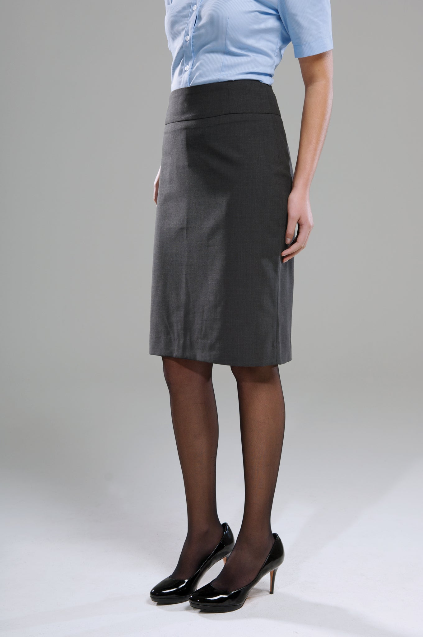 Polywool Z Stretch Ladies Pencil Skirt - Charcoal