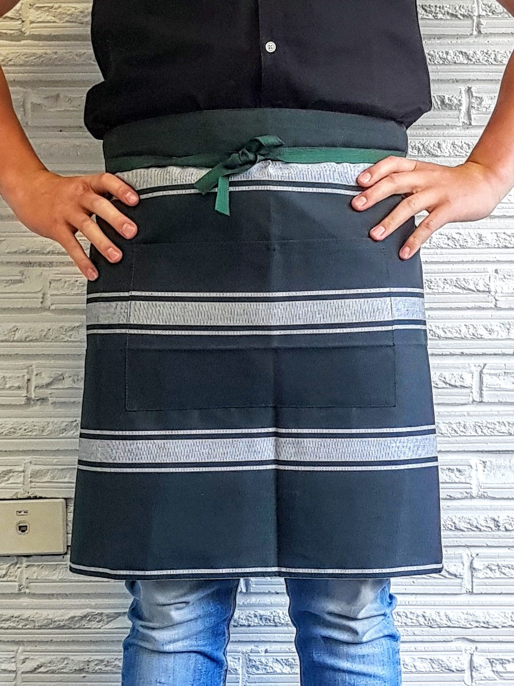 NZ Made Waist Apron with pocket Forest/White