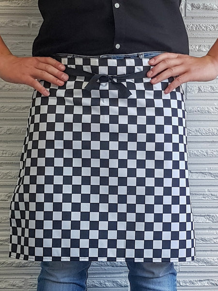 The Waiter NZ MADE Waist Apron- Black/White Bold Check