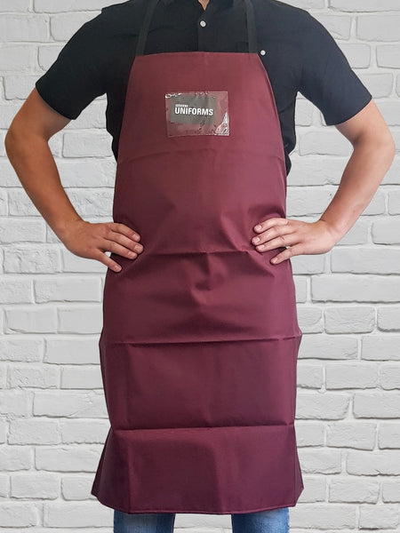 Nylon Bib Apron Burgundy NZ MADE