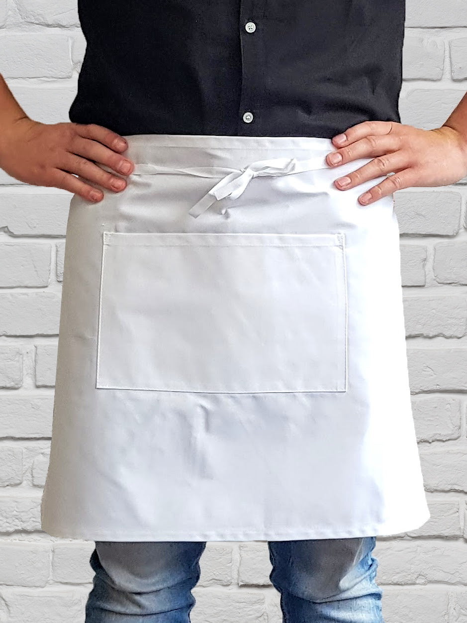 AJ11P Staple 1/2 Waist Apron with Pocket - White