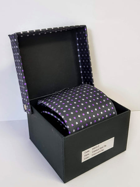 Men's 'Catalyst' Charcoal/Lilac Spot Tie