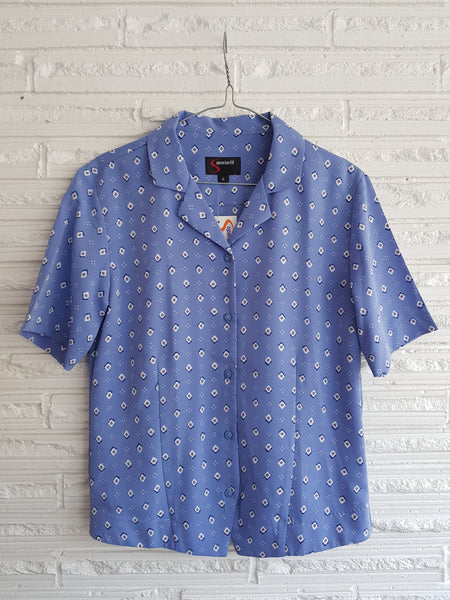 Ladies Short Sleeve Periwinkle/White Print Blouse