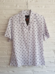 Ladies Short Sleeve White/Periwinkle Diamond Print Blouse