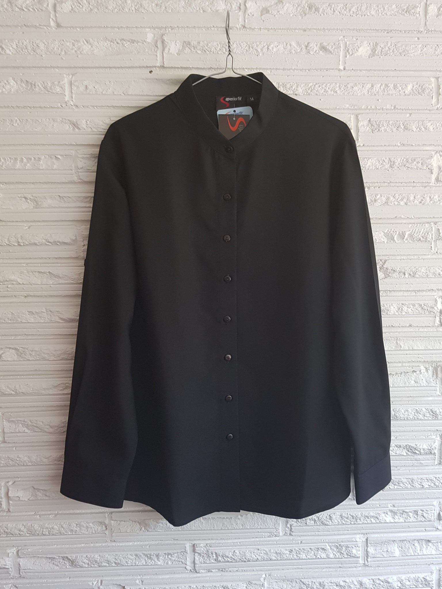 Ladies Mandarin Collar Black Blouse