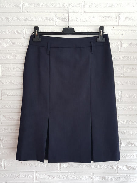 Ladies Kick Pleat Navy Striped Skirt