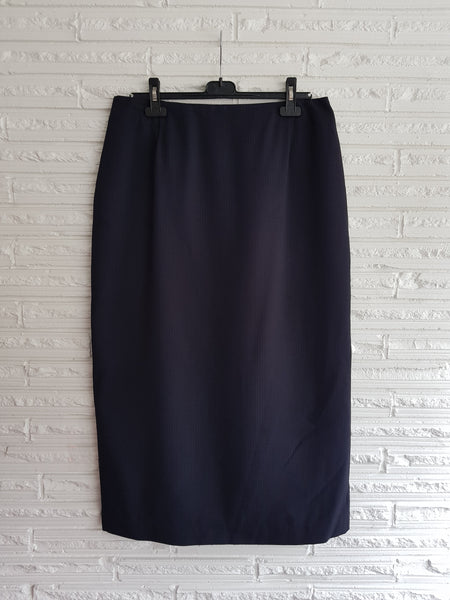 Ladies Long Navy Stripe Skirt