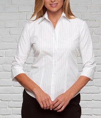 White Striped Sleeve Blouse for Ladies