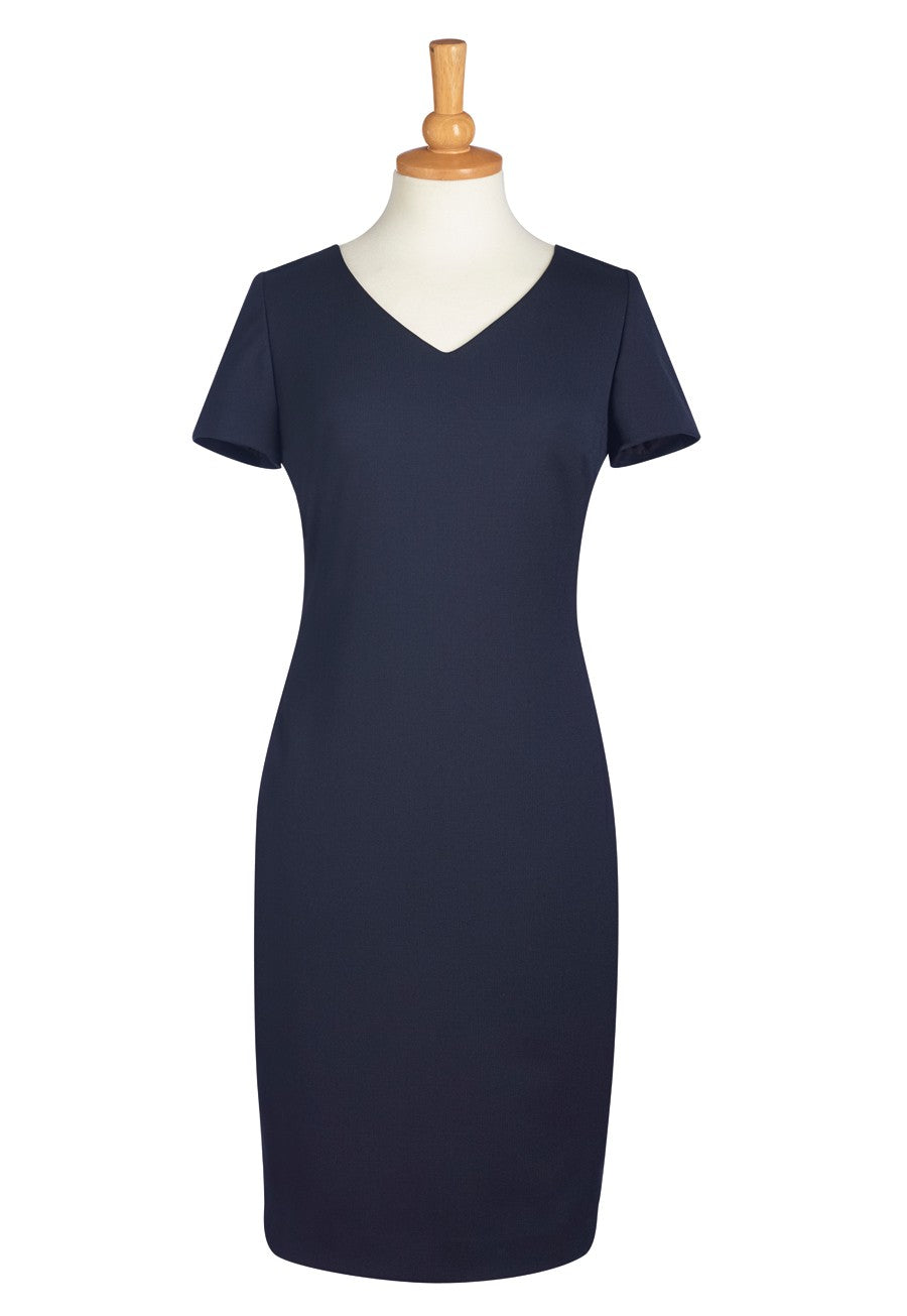 Cap Sleeve Semi-Fitted Corinthia Lined Dress - Navy