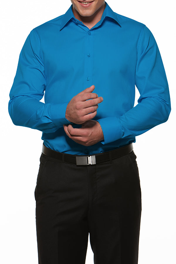 Men's Long Sleeve Relaxed Fit Shirt - Hero Blue
