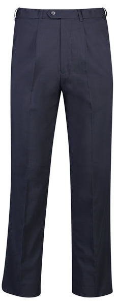 Mens Navy Pleat Front Trouser