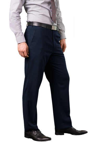 Mens Flat Front Navy Trouser