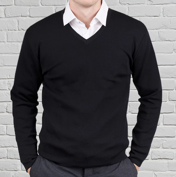 Men's Black Merino V Neck Pullover
