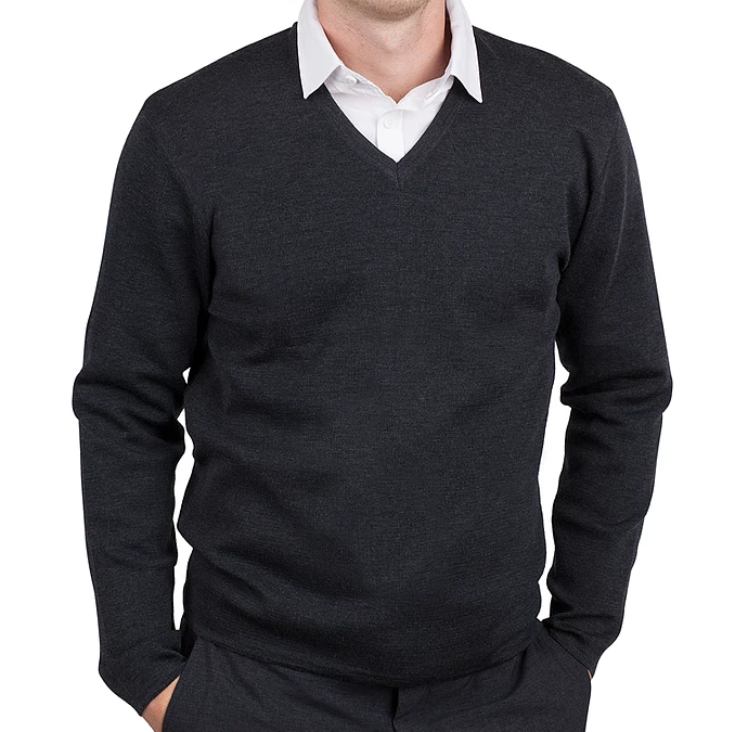 Men's Charcoal Merino V Neck Pullover