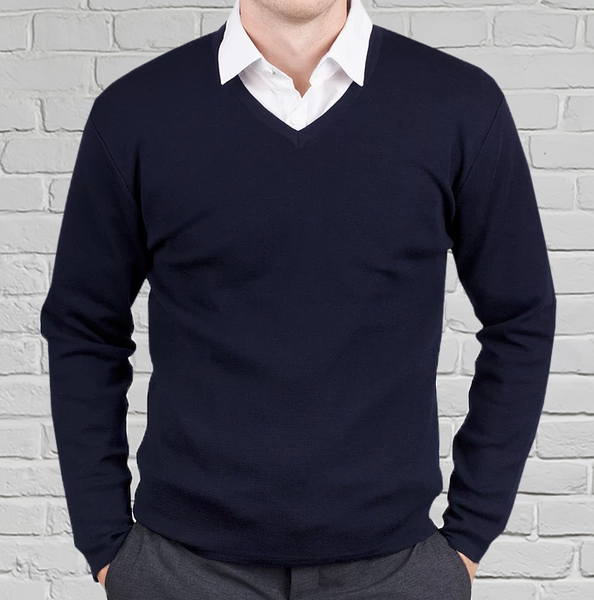 Men's Navy Merino V Neck Pullover