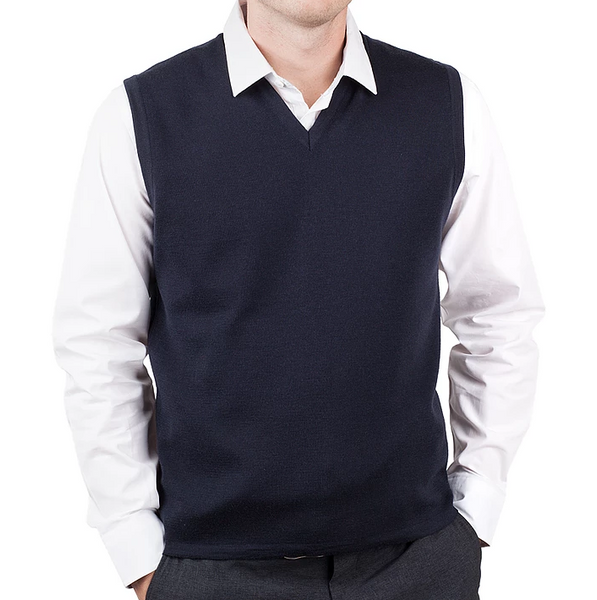 Men's Navy Merino Vest