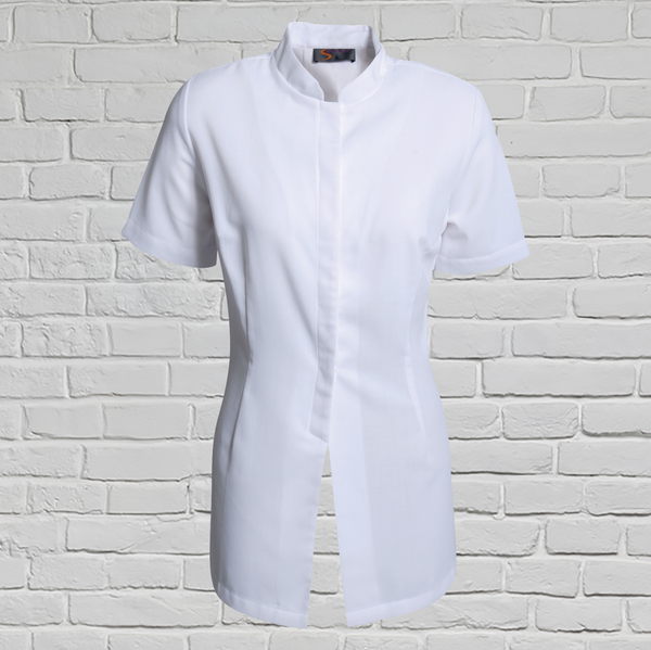 White Short Sleeve Beauty Tunic