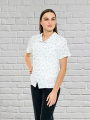 Flair Print Ladies Overshirt Peaked with Pocket - White