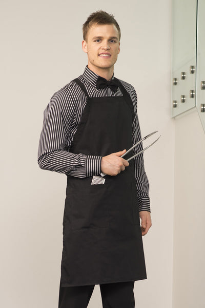 Bib Apron with Pocket - Black