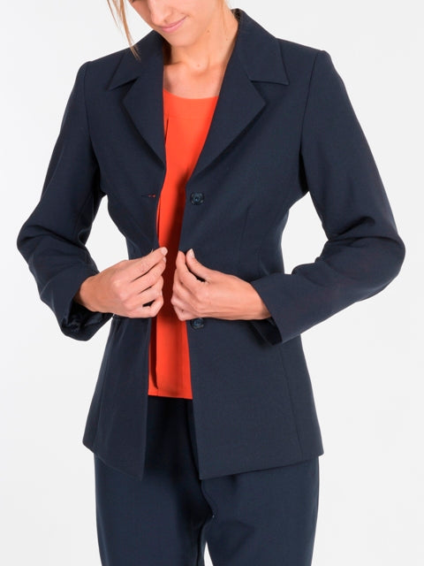 Ladies Navy Longline Jacket