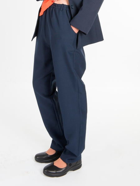 Ladies Navy Elastic Waist Trousers
