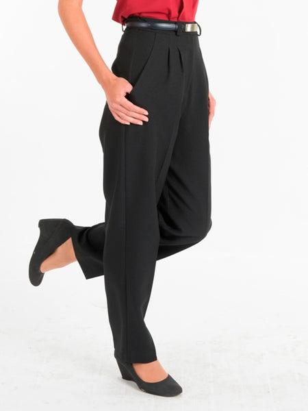 Ladies Pleat Front Black Trousers