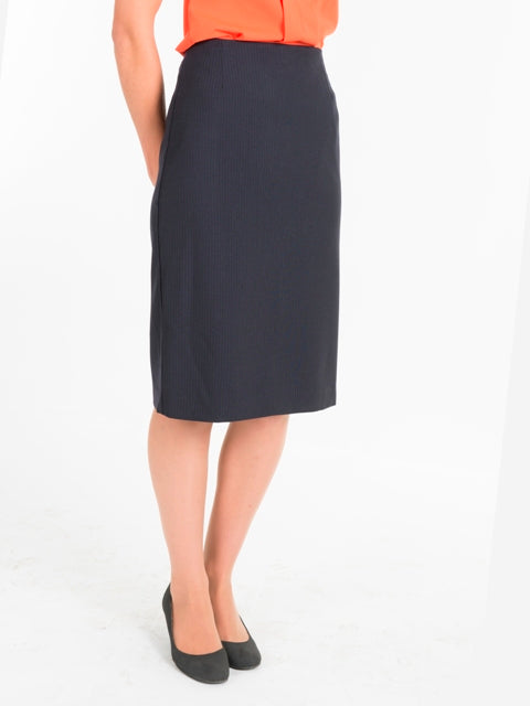 Ladies Navy Striped No Waistband Skirt