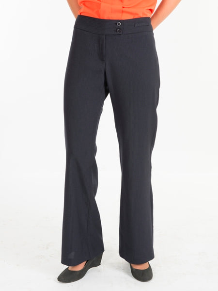 Ladies Navy Striped Lowrise Trousers