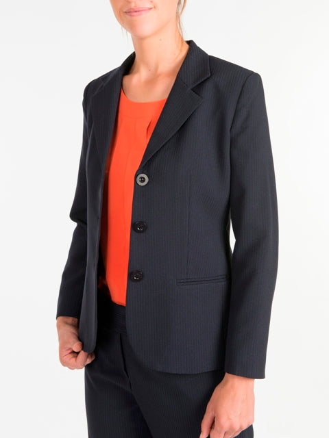 Ladies Navy Striped Shaped Jacket