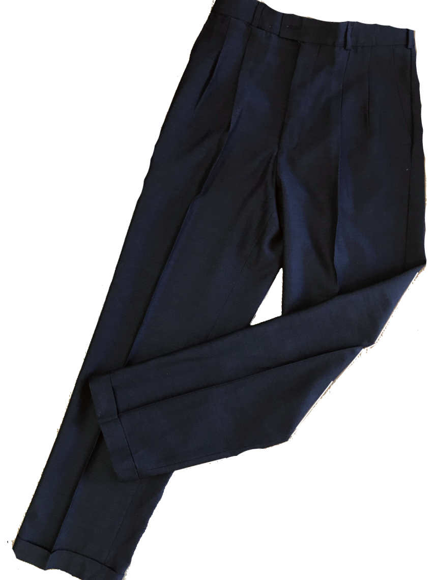 Men's Twin Pleat Wool Trouser - Charcoal
