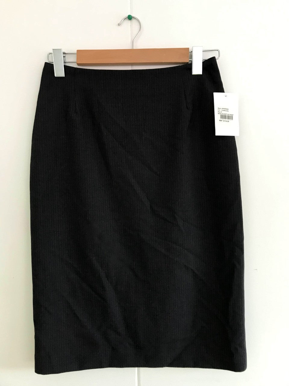 Ladies Skirt No Waistband - Charcoal Stripe