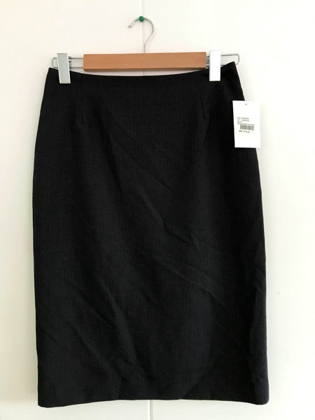 Ladies Charcoal Striped No Waistband Skirt