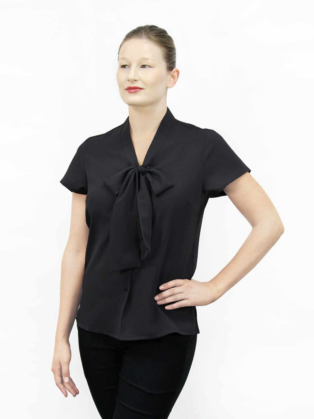 Low Bow Tie Ladies' Blouse - Black
