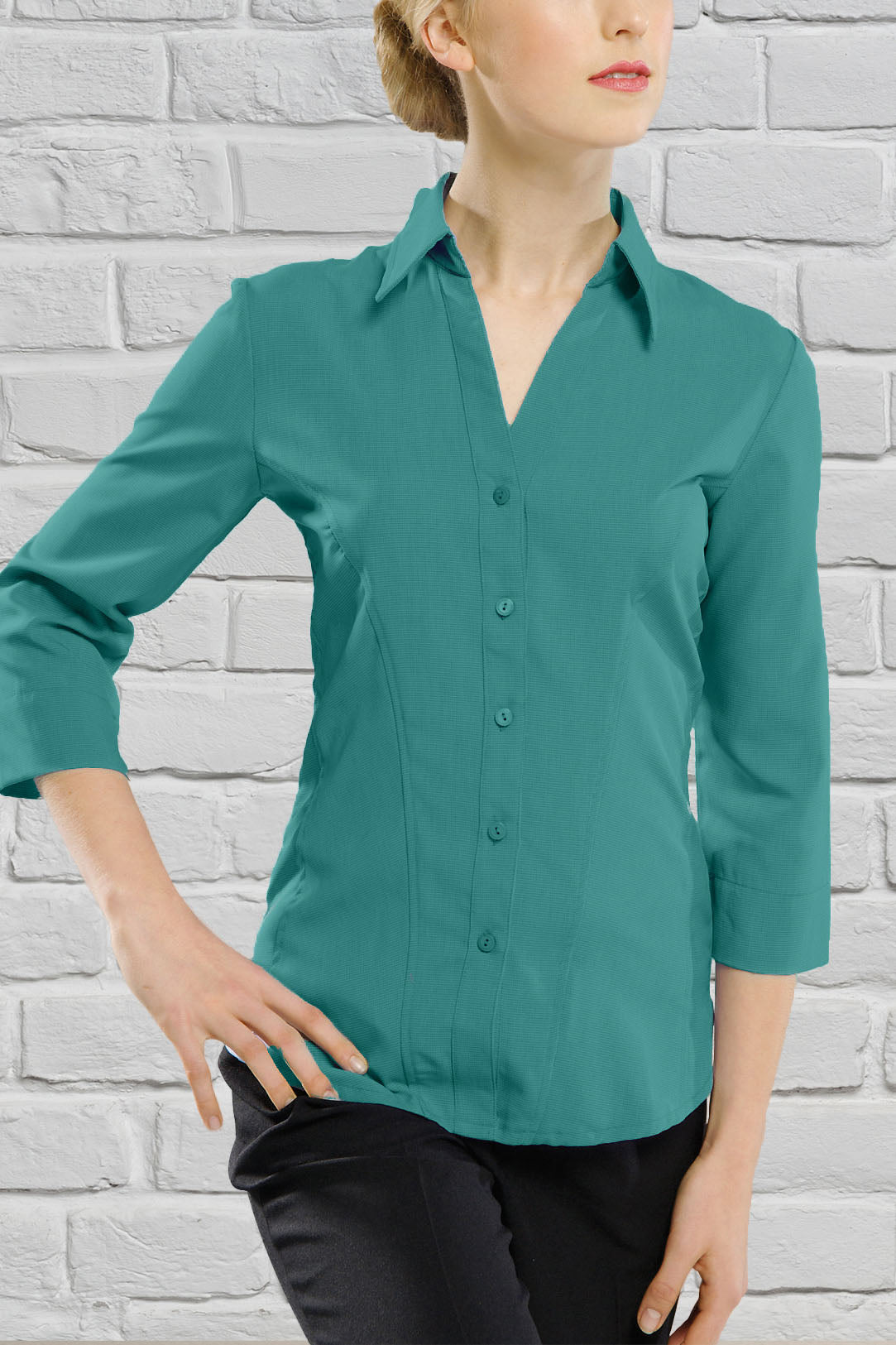 Ladies Teal 3/4 Sleeve Blouse
