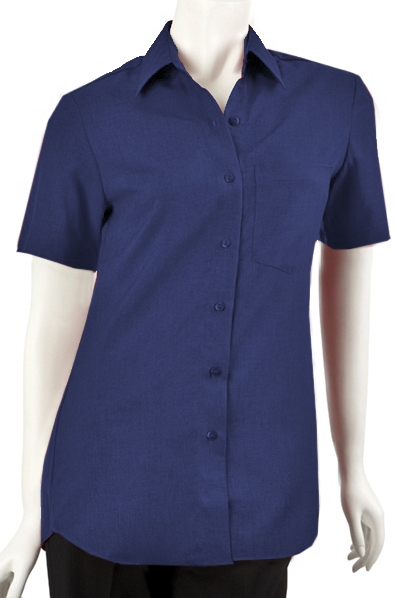 Ladies Short Sleeve Blouse with Pocket - Navy