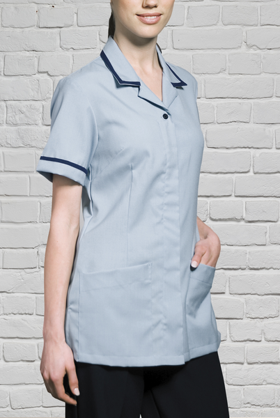 Tunic with Penny Revere Collar - Pale Blue/Navy