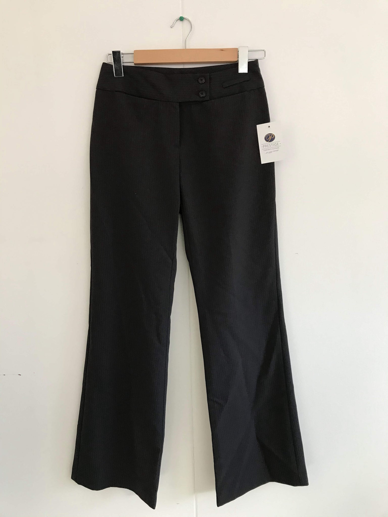 Ladies Charcoal Striped Lowrise Trousers