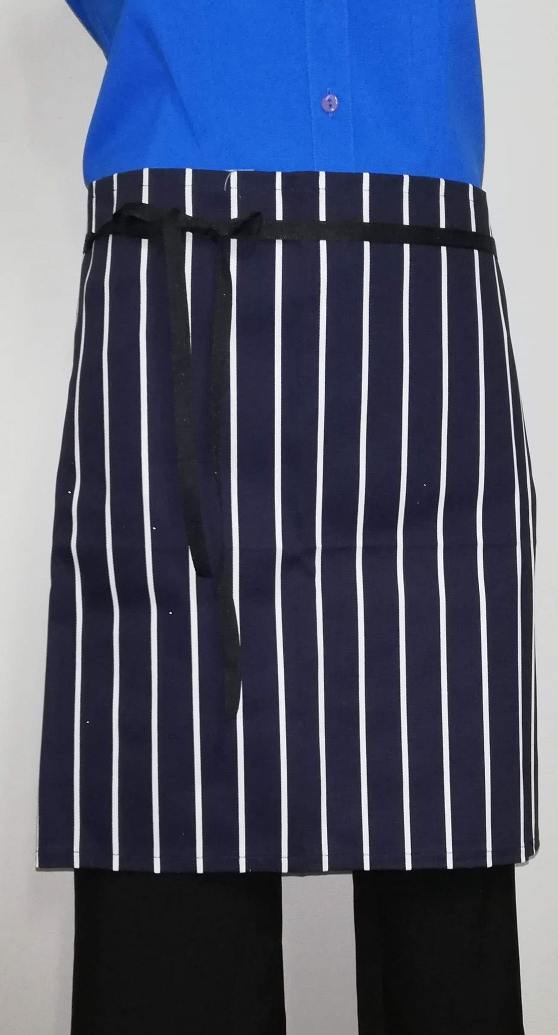 AJ03 Short Half Apron - Navy/White Stripe