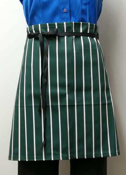 AJ03 Short Half Apron -Bottle/White Stripe