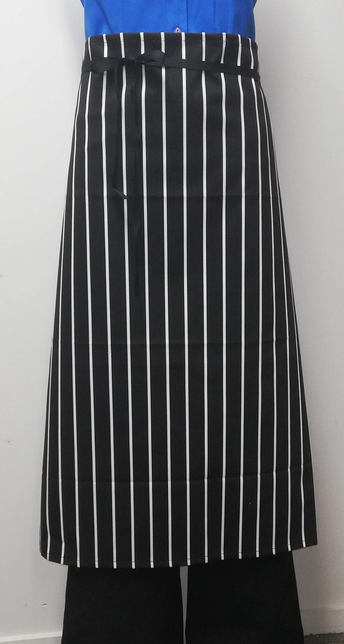 AL03 Long Waist Apron - Black/White Stripe