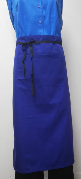 Long Waist Apron With Pocket - Royal