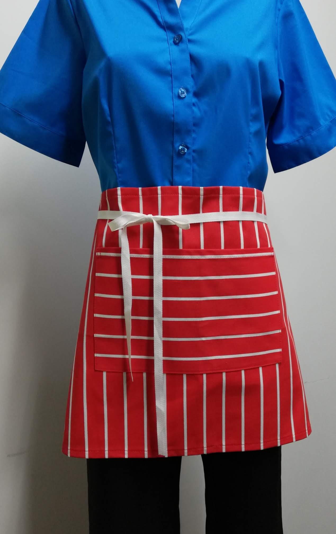 AS03 Brasserie Apron - Red/White Bold Stripe