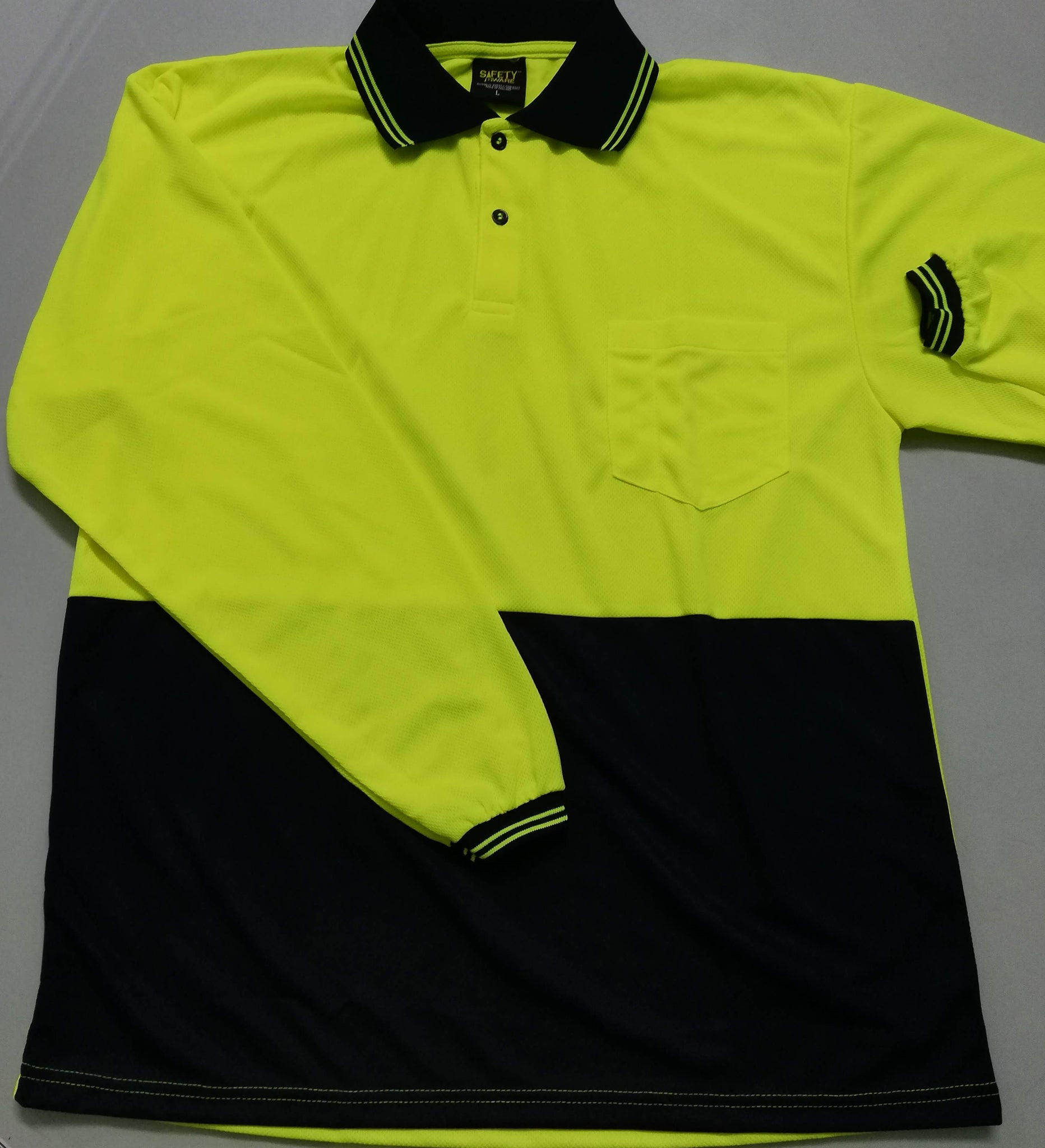HIVis Long Sleeve Polo Shirt with Pocket - Yellow/Navy